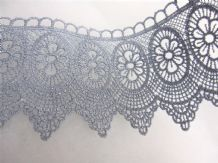 Silver Blue Steel Guipure Lace PER MT - 8cm Wide Decoration
